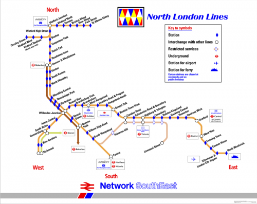 North London Line - Reproduction Carriage Map