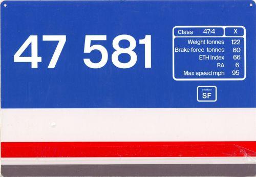 NSE Loco Data Plate